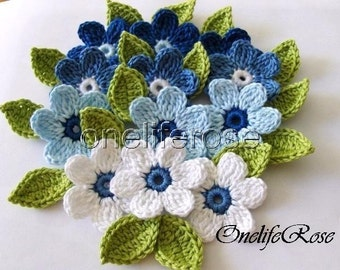 Crochet Flowers 12 pieces with 12 leaves ( Blue)