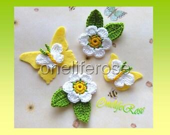 Crochet  Butterflys  Flowers with Felt Butterflys