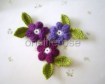 Crochet Flowers 9 pieces