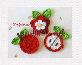 Crochet Apples and Flower Set