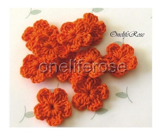 15 pcs. Mini Crochet Flowers Orangesss Orange
