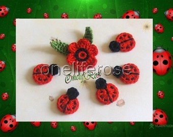 Crochet Ladybugs and Flower with leaves