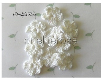 Small  Crochet Flowers WHITE