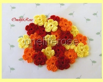 Crochet Flowers Red-Orange-Yellow