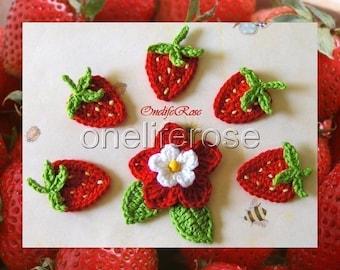 Crochet Strawberries and  Crochet Flower