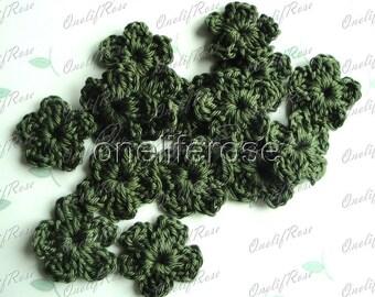 15 pieces Mini Crochet Flowers Mossgreen(00224)