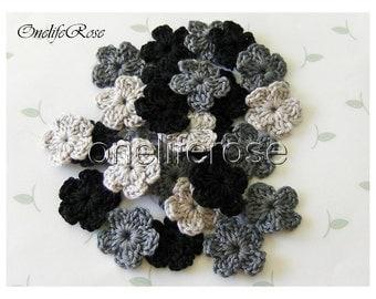 Crochet Flowers 15 pcs Mini BLACKS