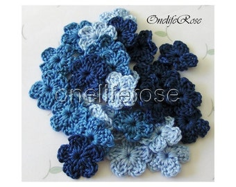 Crochet Flowers 15  pcs Mini BLUE