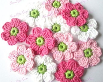 Crochet Flowers 12 pieces
