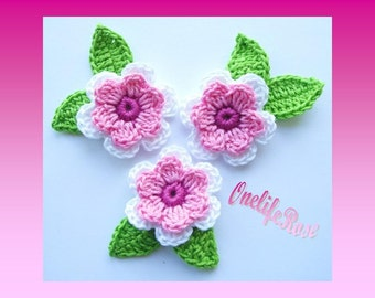 Crochet Flowers 3 pieces with 6 Leaves