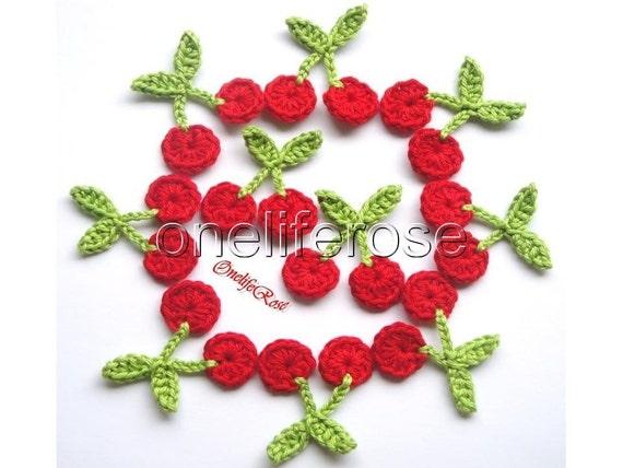 10 pieces MINI Crochet Cherries