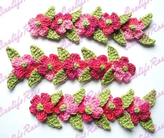 15 pcs Mini Flowers with  15 Mini Leaves