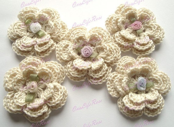 5 PIECES Beige Crochet Flower with organza Ribbon Rose