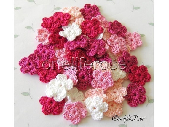 Crochet Flowers 15 pieces Mini PINKYS
