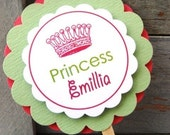 Luxurious Personalized Cupcake Toppers, Personalized Cupcake Picks, Party Accessories, Crown, Custom, Birthday, Party, Decoration, Baby Shower, Kids - Set of 12
