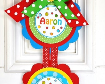 Welcome Door Hanger, Vertical  Door Sign in Primary Colors, Party Door Sign