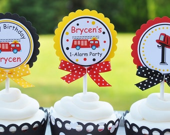 Firetruck Cupcake Toppers, Firetruck Birthday Party - Set of 12