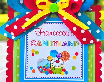 Candyland Door Sign, Welcome Door Hanger, Candyland Birthday Party Decor