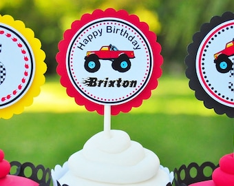Monster Truck  Cupcake Toppers, Monster Truck Birthday Party - Set of 12
