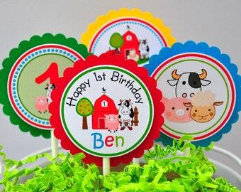 Barnyard  Cupcake Toppers, Barnyard Birthday Party - Set of 12