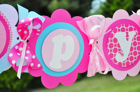 Happy Birthday Banner in Hot Pink, Light Pink and Baby Blue, Deluxe XL Party Banner