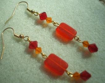 Orange Crush Dangle Earrings