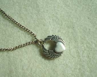 Angel Wings with a Heart Necklace
