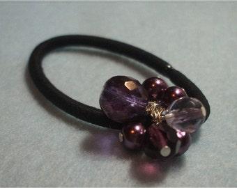 Beaded Pony Os Various dark Purple Amethyst toned  Ponytail Hair Jewelry