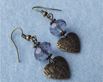 Bronze heart and Rondell Earrings