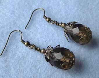 Topaz Brown Oval Beaded Earrings with Antiqued Brass