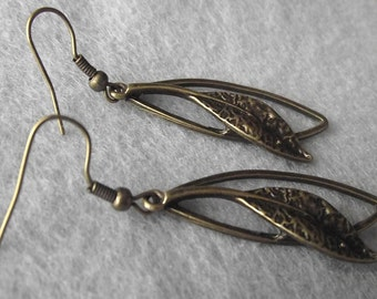 Bronze Leaf Earrings etched