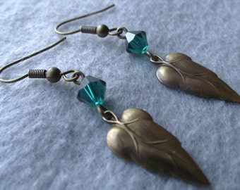 Bronze leaf earrings with green Crystal Dangle for sparkle