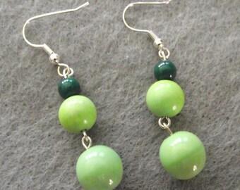 Apple Green Silver Dangle Earrings