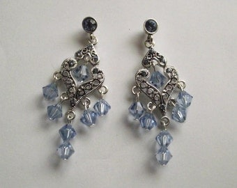 Sparkle and Glamour Gorgeous Light Sapphire Beaded Earrings