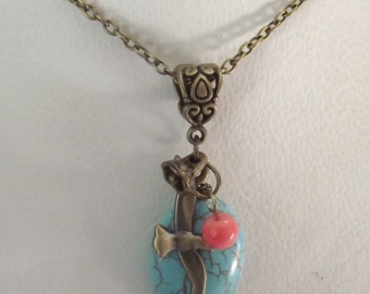 Turquoise and Bronze Stacked Pendants on a Bronze Chain Necklace