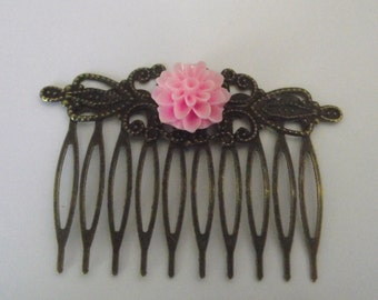 Hair Comb Scrolled Antique Bronze with pink  flower