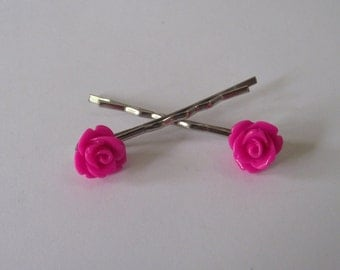 Bright Pink flower bobby pins Set of 2