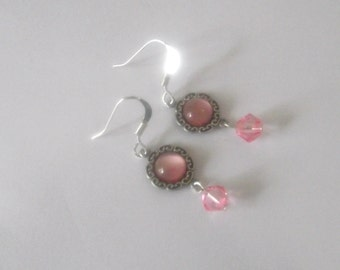 Baby pink Dangle earrings in silver plate Gorgeous drop earrings