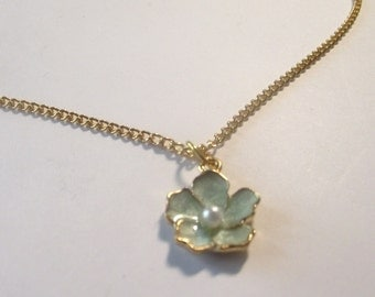 Blue Flower with Pearl Necklace Gold tone chain