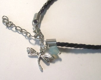 Bracelet Dragonfly braided leather black with crystal