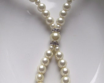 Ivory Pearl Crystal Bridal Pearl Necklace Wedding day Jewelry