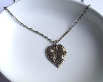 Leaf Antique bronze Pendant on a Delicate Chain Necklace