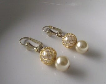 Ivory Cream Pearl with ivory wire wrapped bead on Gold Tone Leverback Ear wires