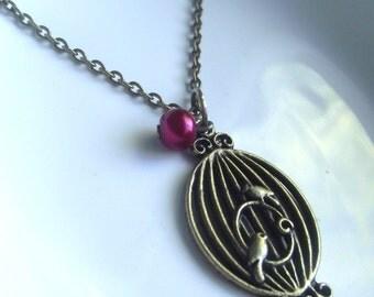 Birdcage Antique bronze Pendant on a Delicate Chain Necklace