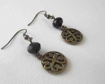 Round Filligree with Black Rondell Crystals Dangle Earrings Antique Bronze