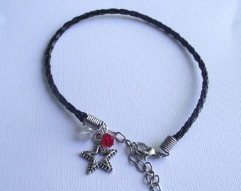 Bracelet Star braided leather black with crystals