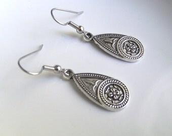 Etched Teardrop Antique Silver Tone Fancy Earrings