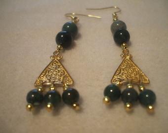 Green Moss Agate Vintage Dangle Earrings