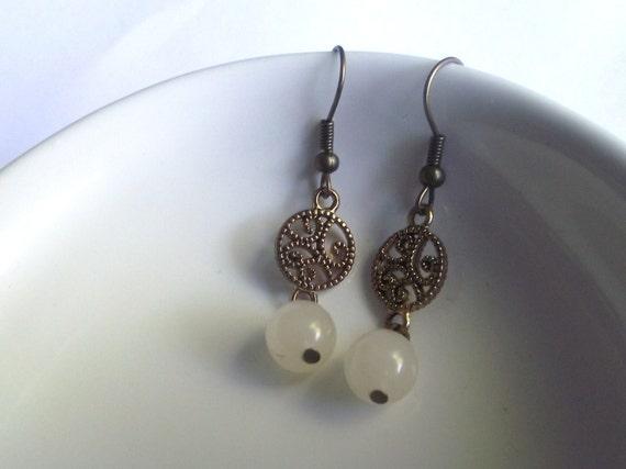 Antique Gold Spiral White Quartz Beaded Earrings