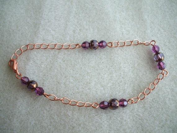 Bright Copper and Plum bracelet